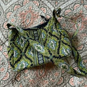 Green and blue floral patterned cross body bag